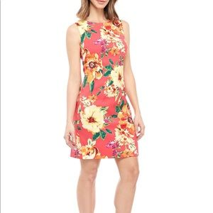 AGB coral floral sheath dress sleeveless size 16